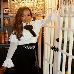 Phaedra Parks with our beautiful Alizea white shirt | Anne Fontaine