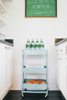 Ikea cart as a bar cart in the kitchen