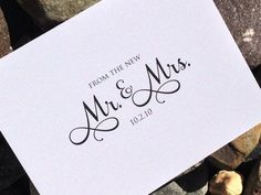 Wedding Thank You Cards - Thank you from the New Mr and Mrs Note Cards - Set of 12 Cards