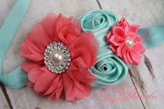 Coral Pink and Aqua Couture Flower Headband -  Newborn Headband - Girls Headband - Photography Prop on Etsy, $12.50