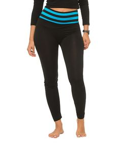 Black & Blue Stripe-Band Leggings #zulily #zulilyfinds
