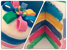 This vanilla cake has all colours of the rainbow and will brighten up any special day.