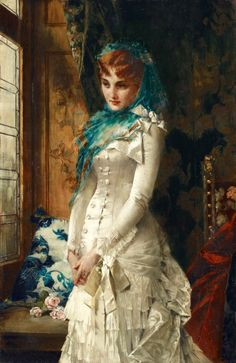 Portrait of a Young Lady in Precious Robes by Conrad Kiesel Victorian Art, Victorian Fashion, Fashion History, Fashion Art, Kiesel, Classical Art, Turbans, Renaissance Art, Beautiful Paintings