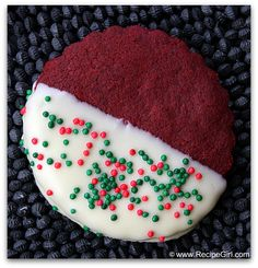 Red velvet Christmas cookies.       (Except forget the white chocolate frosting, only cream cheese frosting belongs on red velevet.)
