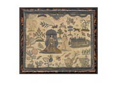 A needlework picture, English, 17th Century; Bonhams auction house, auction no. 18761 lot 13; pinned for motifs, especially gryffon in upper right