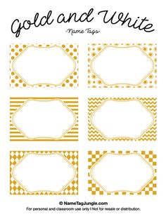 Free printable gold and white name tags with chevrons, polka dots, and other patterns. The template can also be used for creating items like labels and place cards. Download the PDF at http://nametagjungle.com/name-tag/gold-and-white/