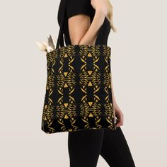 Luxury bag aztecs gold black tote bag - gift idea custom