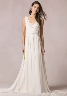 Floor lenght A-line Chiffon dress with lace and a V-neck cut | Jenny Yoo Collection: Athena | http://knot.ly/6499Bt50Z