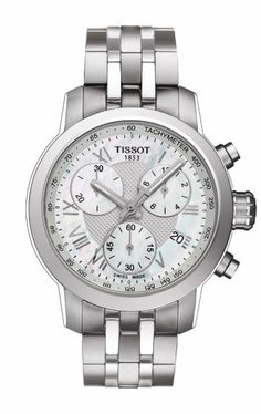 Tissot PRC 200 Women's Quartz Chronograph Watch - Mother-of-Pearl Dial With Stainless Steel Bracelet