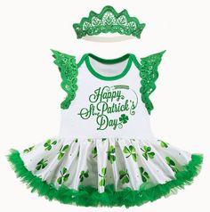 St Patrick Rhinestone Irish Princess White Top Clover Satin Trim Skirt Set NB-8Y