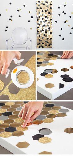 DIY Wall Art - Hexagon | 24 DIY Teenage Girl Bedroom Decorating Ideas #Decoratingideas