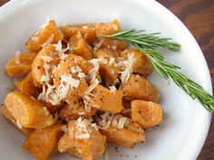 Sweet Potato Gnocchi in Rosemary Butter. Sweet potato (or yam) dumplings, fried up in sizzling butter, fragrant with woodsy rosemary. Serve on a bed of fresh spinach, with a twist of black pepper and some freshly grated Parmesan, for a wonderful vegetarian main course.