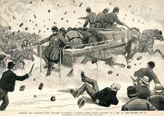 "The Haymarket Affair -- Caption reads, ""A police patrol wagon attacked by a mob of 12,000 rioters, May 3d."" -- Artist: C. Bunnell"
