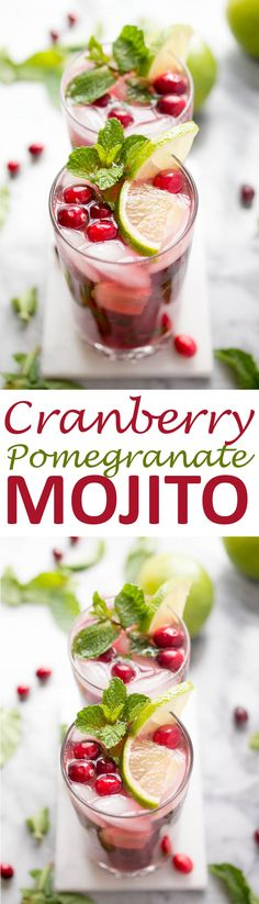 Holiday Cranberry Pomegranate Mojito made with fresh mint, cranberry reduction, pomegranate juice and fresh lime. Perfect cocktail for the holidays! | chefsavvy.com #recipe #cranberry #pomegranate #mojito #drink #cocktail #holiday
