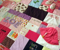 baby clothes quilt with applique'd name