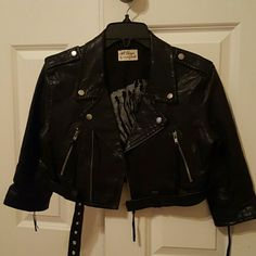 Leather jacket Black leather jacket with zippers and fringes. Trendy Torn by Ronny Kobo Jackets & Coats Blazers
