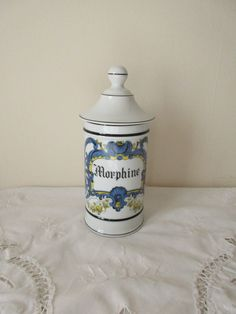 MORPHINE, Delightful French Vintage Large Apothecary Jars / Pharmaceutical Pot, Limoges Porcelain, Perfect Condition, by TresorsDesPyrenees on Etsy https://www.etsy.com/listing/270449626/morphine-delightful-french-vintage-large