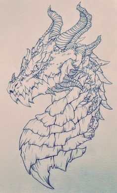 Dragon side profile view pencil drawing by Rachael Bridge