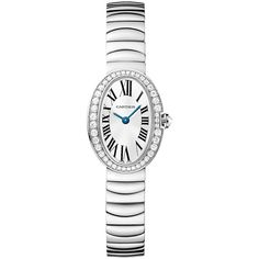 Cartier Baignoire Mini wb520025 Watch ($28,303) ❤ liked on Polyvore featuring jewelry, watches, blue dial watches, roman numeral watches, white gold jewellery, dial watches and cartier jewelry