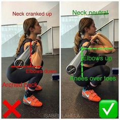 HOW TO FRONT SQUAT - Step 1: bar should be high on your shoulders with your ELBOWS UP and the bar should be resting on your FINGER tips - Step 2: bend at the knees to start the squat let your KNEES pass OVER your TOES so that your body is going straight down not letting your butt shoot out behind you - Step 3: initiate the squat up with your QUADS keep your spine tall elbows up head neutral and don't let your butt shoot out behind you! _ squatting with your knees going over your toes if perf