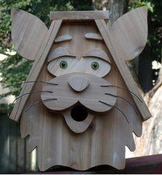 Cedar Cat Shaped Birdhouse by NWoutdoor on Etsy, $45.00