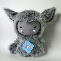 Frost Monster Plush Toy by Stuffed Silly, Cute Grey Yeti, Unique Soft Art Doll Collectible.