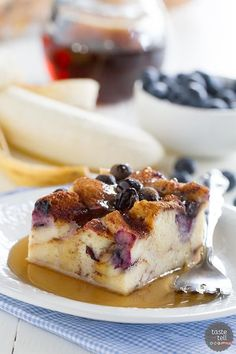 Breakfast worth waking up for! This Blueberry Banana French Toast Bake has fresh bananas and blueberries baked in a fuss-free French toast breakfast.