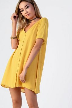 f8affa5c3b362 Womens Yellow bardot button front swing dress | Rainbow Brights in ...