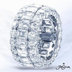 Style 2389 Platinum diamond eternity band is graced by emerald-cut diamonds in the center and round diamonds embracing the center in shared prong setting. Full Eternity Ring, Eternity Ring Diamond, Eternity Bands, Diamond Wedding Rings, Diamond Rings, Diamond Jewelry, Diamond Cuts, Emerald Cut Diamonds, Round Diamonds
