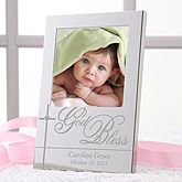 Our beautiful God Bless Baby Personalized Silver Picture Frame becomes a shimmering silver canvas to display a favorite photo of the precious little one.