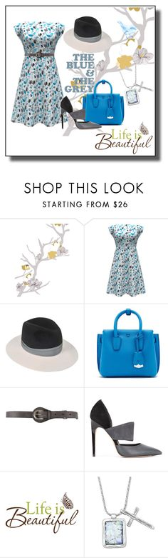 """""""Blue and Grey"""" by kelly-floramoon-legg ❤ liked on Polyvore featuring Maison Michel, MCM, Belstaff, Calvin Klein and floramoondesigns"""