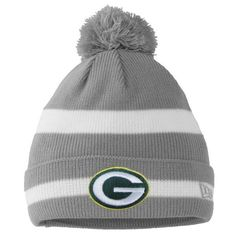 New Era Green Bay Packers Two-Tone Stripe Cuffed Knit Hat with Pom - Gray - $21.99