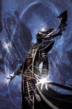 Eldrad Ulthran, Farseer of Craftworld Ulthwe, scrying the portents of possible futures. Eldar 40k, Dark Eldar, Warhammer 40k Art, Warhammer Fantasy, Dark Ages, Space Marine, Fan Art, Fantasy Artwork, Fantasy Characters