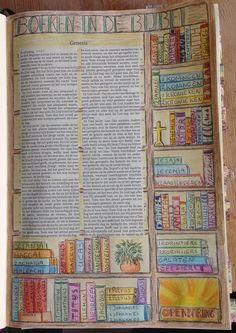 Boeken in de bijbel Conny vd Berg Gouda Bible Drawing, Bible Doodling, Lds Scriptures, Bible Prayers, Scripture Art, Bible Art, Bible Study Journal, Art Journaling, Bibel Journal