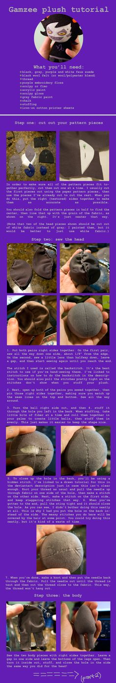 A Gamzee plushie tutorial by ~b00ts dA. I really like how she makes her dolls, and while I love Gamzee, it's a very versatile doll pattern.