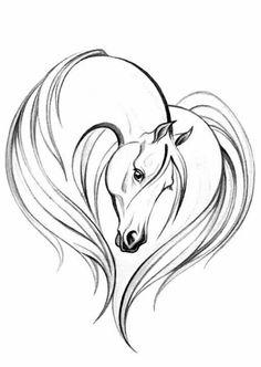 Simple Horse Head Drawing Elegant horse head on the Easy Horse Drawing, Horse Head Drawing, Horse Drawings, Animal Drawings, Art Drawings, Drawing Ideas, Drawing Art, Art Sketches, Horse Tattoo Design