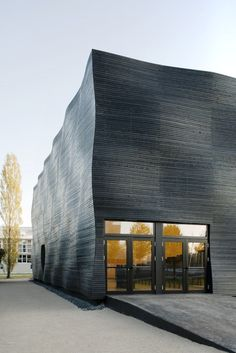 Interims Audimax building at the Technical University of Munich, in Germany;  designed by Deubzer König + Rimmel Architects