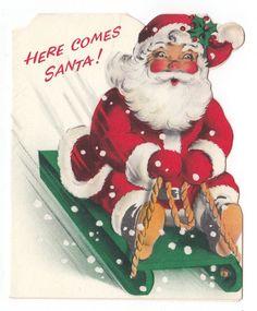 Vintage Greeting Card Christmas Santa Claus Riding Sled Die-Cut Norcross