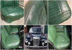 before and after of a classic car seat the leather has been cleaned restored and recoloured. Black Bedroom Furniture Sets. Home Design Ideas