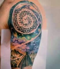 Discover all of matter and space with the top 75 best universe tattoo designs for men. Explore manly ideas with cool stars, galaxies, planets and more. Tatto Design, Aztec Tattoo Designs, Tattoo Sleeve Designs, Tattoo Designs For Women, Aztec Designs, Foot Tattoos For Women, Small Tattoos, Tattoos For Guys, Tattoos Skull