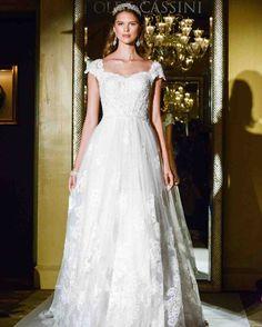 Oleg Cassini Fall 2017 Wedding Dress Collection   Martha Stewart Weddings – Short-sleeve ball gown wedding dress
