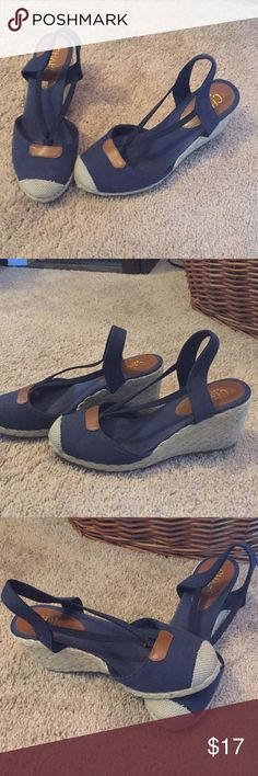Chaps wedges size 7 In good used condition somewhere as seen in pictures dark blue and tan Chaps Shoes Wedges