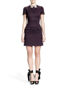 Short-Sleeve Flap-Pocket Seamed Dress by Alexander McQueen at Neiman Marcus.