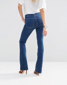 Image 2 ofASOS Baby Kick Flare Jeans In Vintage Wash With Bleach Crease