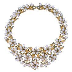 Trifari Tooth Pearl Bib Necklace
