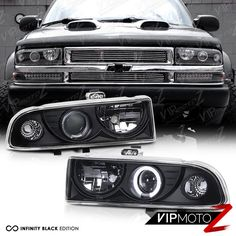 New Pair Led Projector Black Headlight Dual Halo Lamps 1998 04 Chevy S10 Blazer