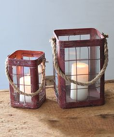Rustic Red Candle Holder Set #zulily #zulilyfinds
