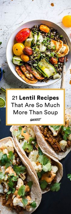 Lentils are actually a great go-to. Need proof? #greatist https://greatist.com/eat/lentil-recipes New Recipes, Lentils, Mexican, Tacos, Chicken, Meat, Ethnic Recipes, Food, Lenses