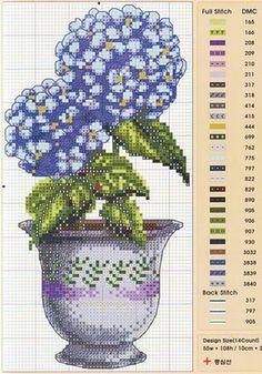 Kanaviçe çiçek vazo mini tablo