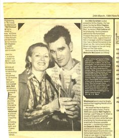 Ms. Betty Dwyer and her handsome son. (Originally published on New Musical Express - March, 1984 - via #Morrissey-solo). #scan